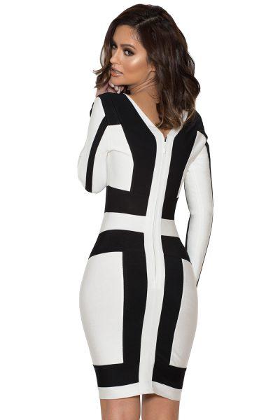 Robe bandeau imprimé noir et blanc