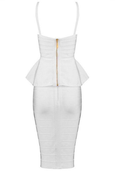 Robe basque blanche avec bretelles