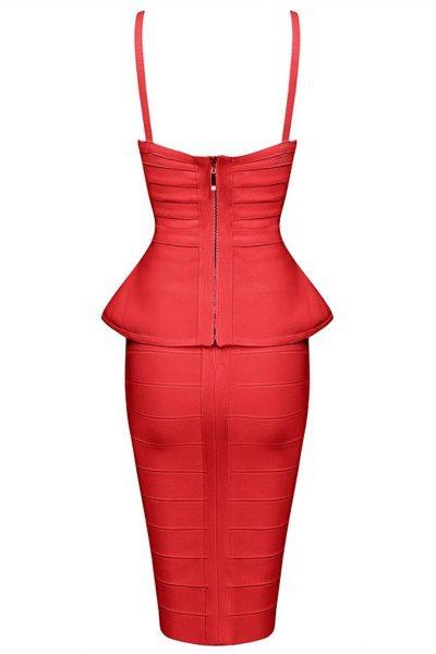 Robe basque rouge avec bretelles