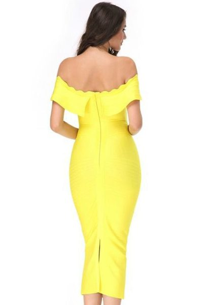 Robe jaune à encolure bandeau