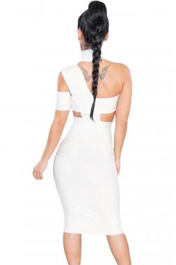 Robe asymétrique blanche à découpes
