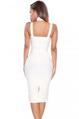 Robe blanc à col haut découpé
