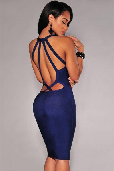 Robe bleu marine à dos nu entrecroisé