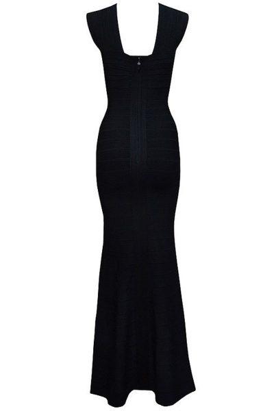 Robe de soirée noire avec bretelles croisées