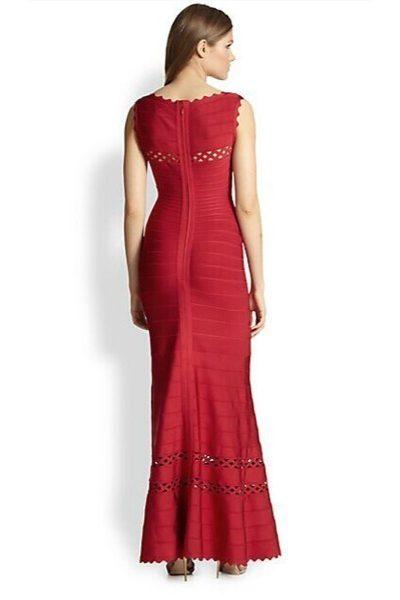 Robe de soirée rouge sans manche col rond