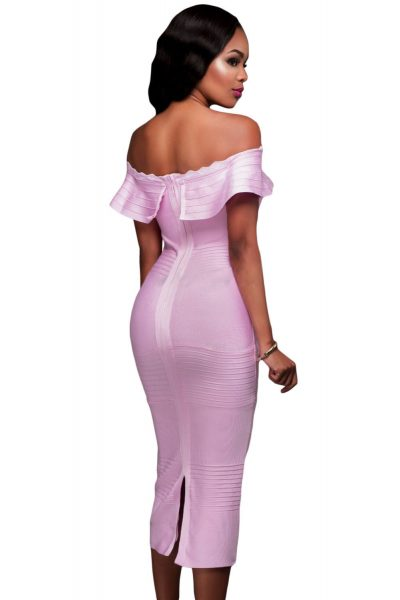 Robe rose à encolure bandeau