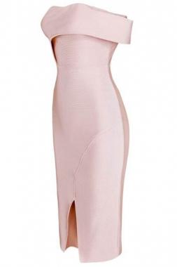 Robe Rose Pale Epaule Denudee Charming Wear Part 1