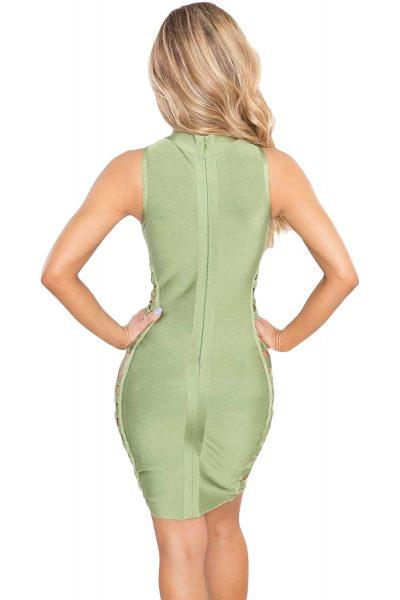 Robe vert avec croisillons sur les côtés