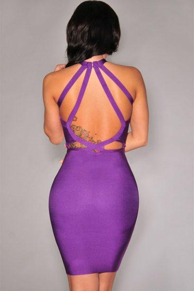 Robe violet à dos nu entrecroisé