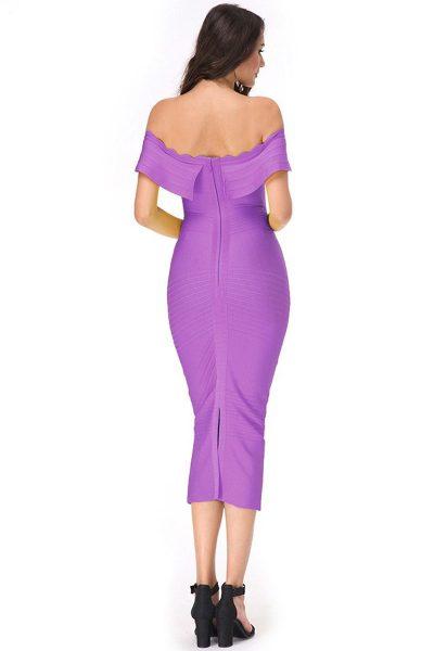 Robe violet à encolure bandeau