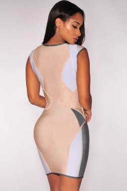Robe zippée nude empiècements gris et lilas