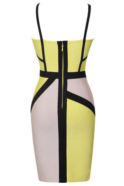 Robe découpée tricolore jaune blanc noir