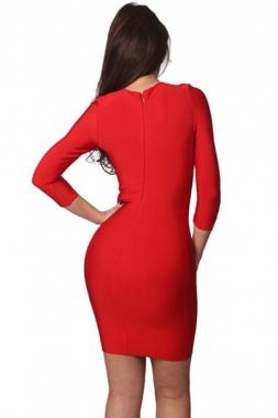 robe rouge à lacets asymétriques