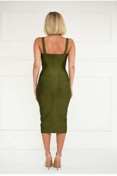 Robe Minceur Vert Olive Décolletée