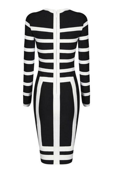 Robe ajustée bicolore noir-blanc