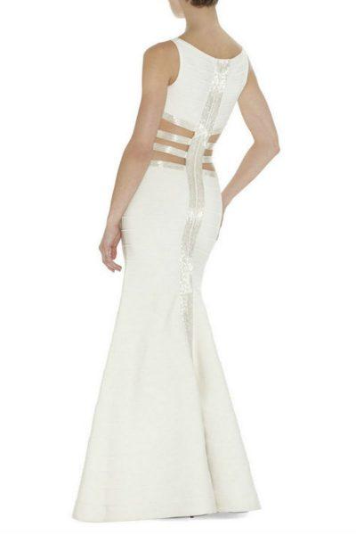 Robe de soirée blanche dos nu à découpes