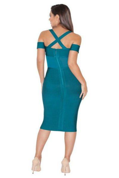robe mi-longue bleu décolletée à bretelles croisées