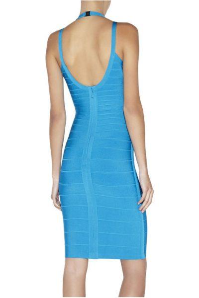 robe turquoise à doubles bretelles